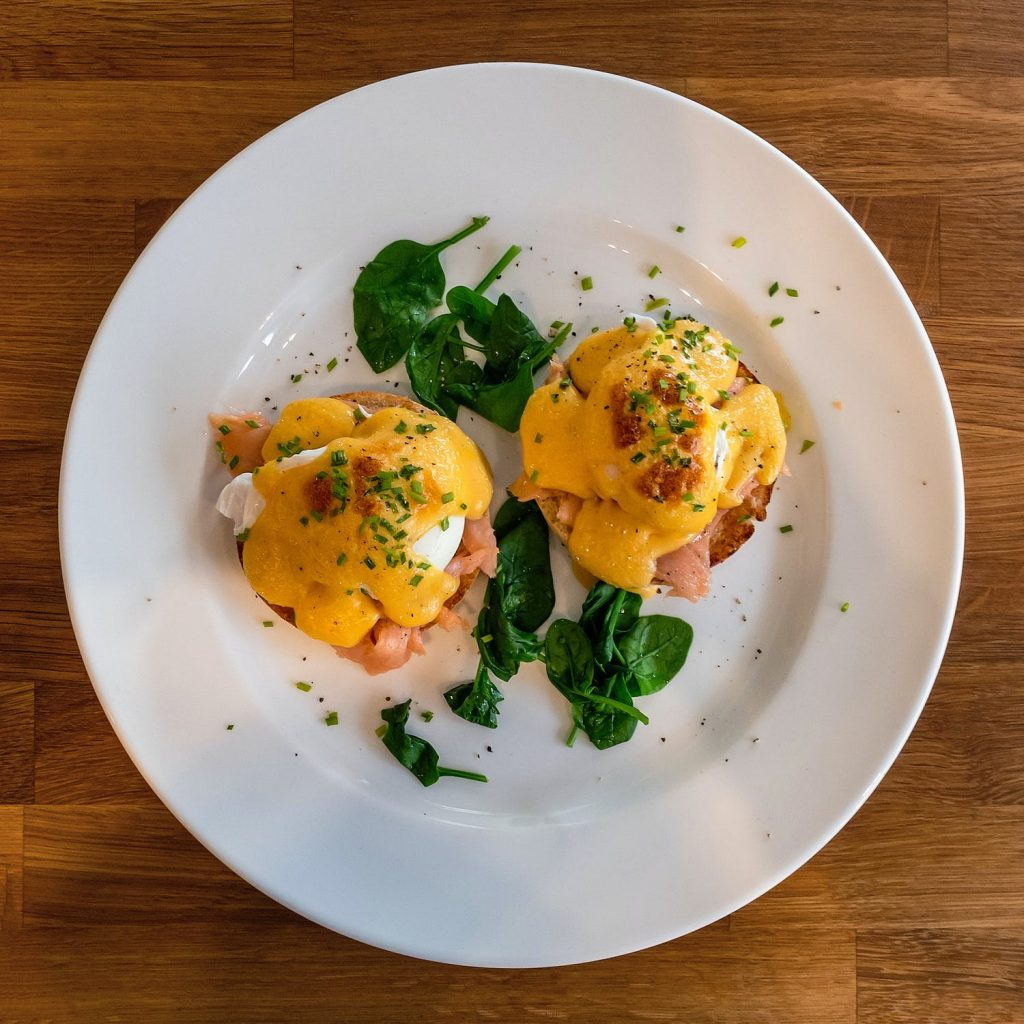 Smoked salmon and Brie Eggs Benedict 2
