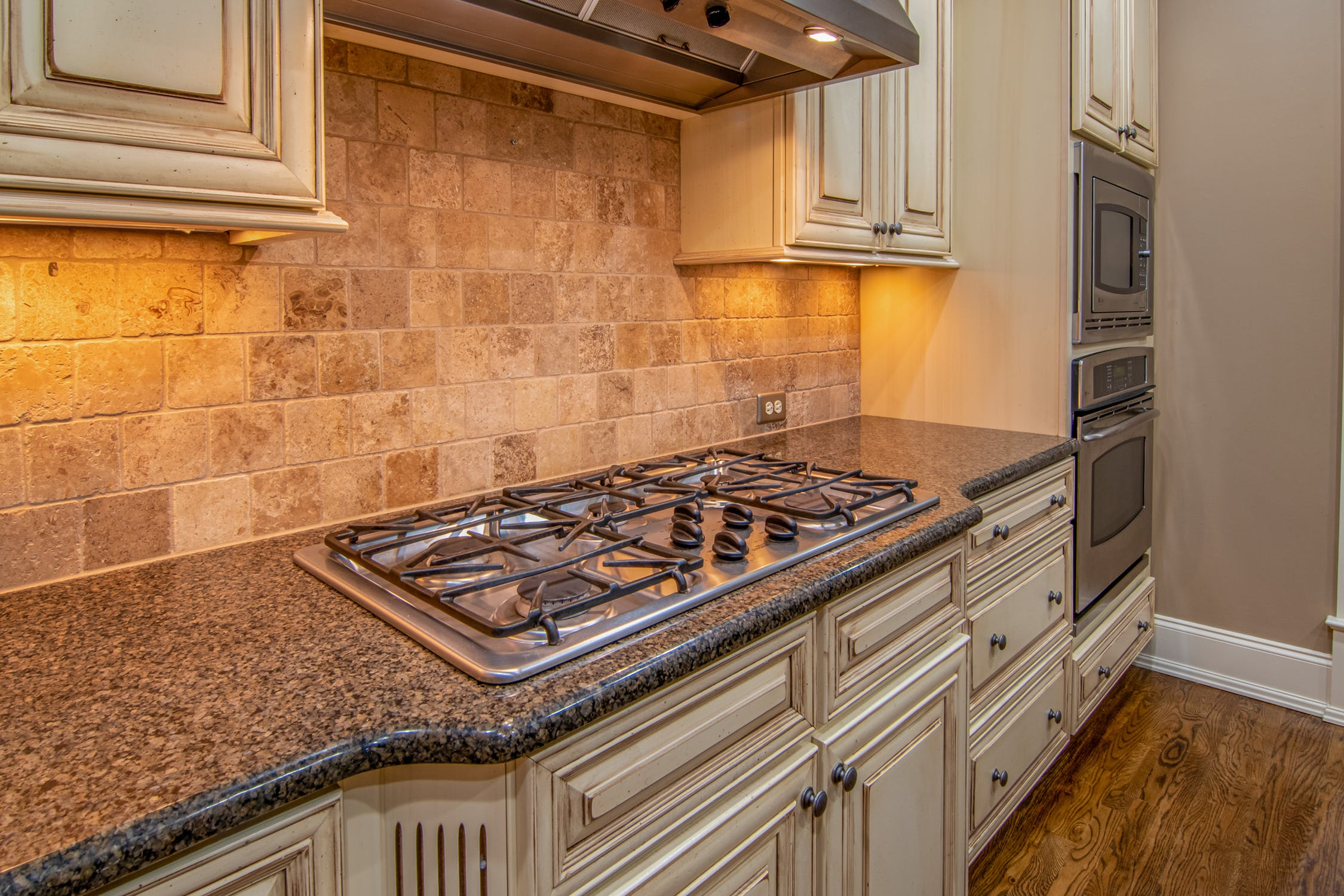 kitchen countertop and stove