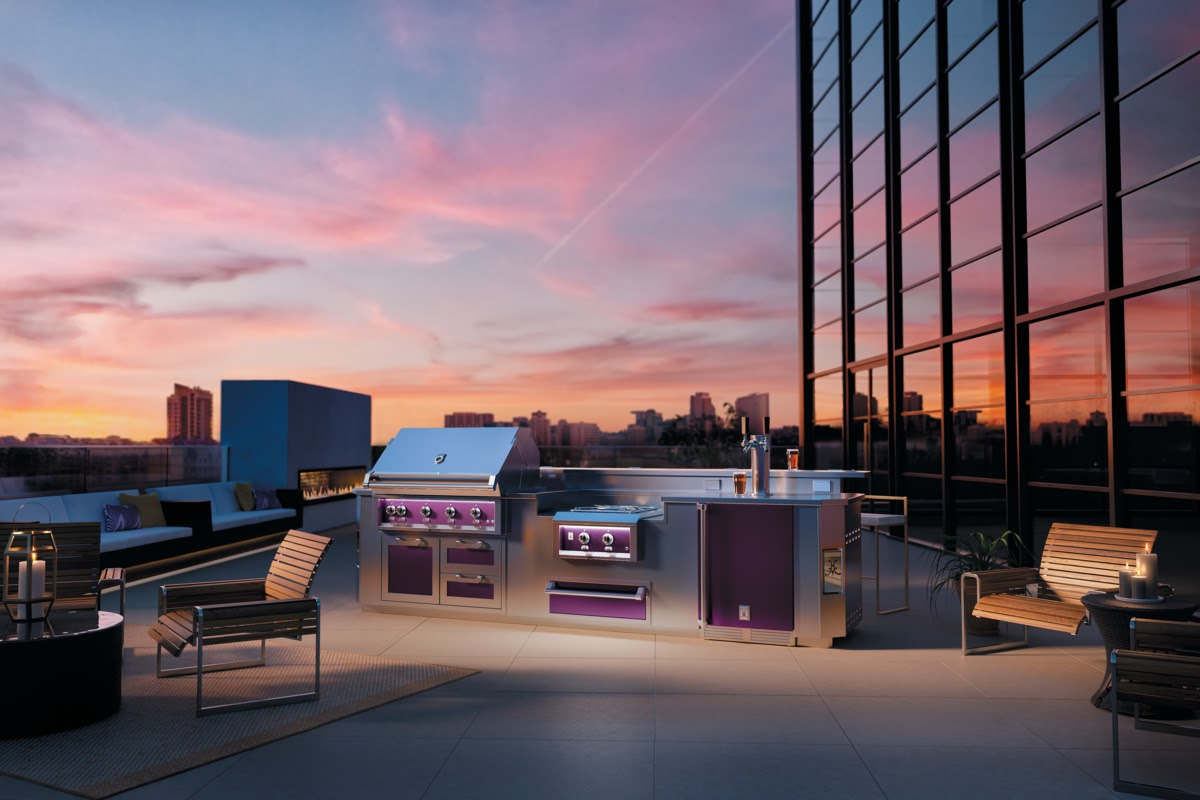 Hestan Outdoor Rooftop Lush Full Kitchen Glam