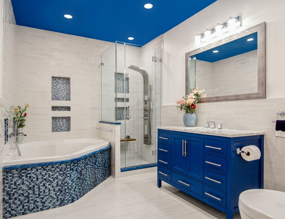 blue and white renovated bathroom